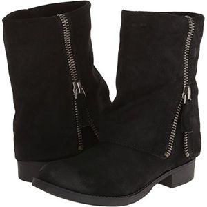 Nine West Boots Black Ankle Leather Suede Booties